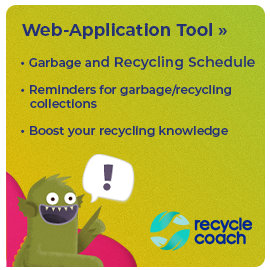 Web-Application Tool, including Garbage and Recycling Schedule, Reminders for garbage & Recycling collections, boost your recycling knowledge